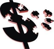 Cash. 3d symbol of money in black color royalty free illustration