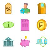 Cash accounting icons set, cartoon style. Cash accounting icons set. Cartoon set of 9 cash accounting vector icons for web  on white background Royalty Free Stock Photo