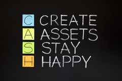 CASH acronym. CREATE ASSETS STAY HAPPY made with sticky notes and white chalk on a blackboard Royalty Free Stock Photo