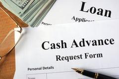 Cash advance form. Royalty Free Stock Photo