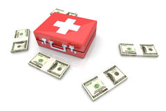 Cash aid emergency. 3D rendered Illustration. Isolated on white Royalty Free Stock Photography