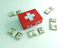 Cash aid emergency. 3D rendered Illustration. Cash aid emergency Stock Images