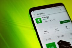 Cash App by Square Inc Google Play Install Page On Android Cell Phone stock photo