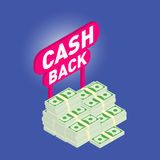 Cash back. Cash back isometric, 3d icon with money heap Royalty Free Stock Photo