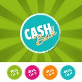 Cash Back color banner and 10%, 20%, 30% & 40% Off Marks. Vector illustration. Cash Back color banner and 10%, 20%, 30% & 40% Off Marks. Eps10 Vector Royalty Free Stock Photography