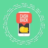 Cash back concept. Smartphone with coin money. Vector illustration.  Stock Photo