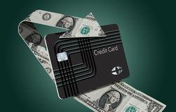 Cash back credit card rewards are illustrated here with a looping arrow made of dollar bills wrapping around a cash back card. This is an illustration royalty free illustration