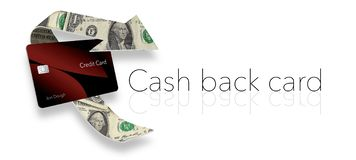 Cash back credit card rewards are illustrated here with a looping arrow made of dollar bills wrapping around a cash back card. royalty free illustration