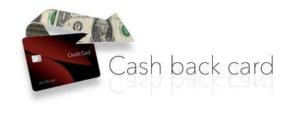 Cash back credit card rewards are illustrated here with a looping arrow made of dollar bills wrapping around a cash back card. stock illustration