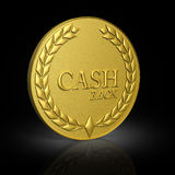 Cash back, gold coin. 3D render illustration of coins with the inscription on a black background royalty free illustration