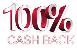 100% cash back graphic. Red and white 3D block text 100% cash back graphics Stock Photo