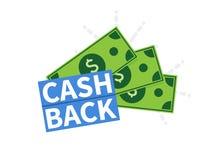 Cash Back icon. Isolated on white background. Cashback or money refund label. Vector illustration. Cash Back icon. Isolated on white background. Cashback or Stock Images