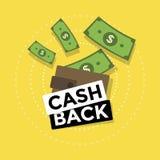 Cash back icon isolated on yellow background. cash back or money refund label. Vector illustration Stock Image