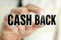 Cash back. Icon on virtual screen stock photo