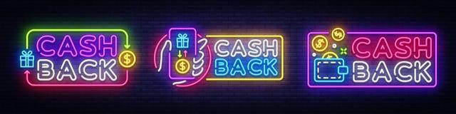 Cash Back neon signs collection vector design template. Cash Back symbols neon logo, light banner design element stock illustration