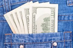 Cash in back pocket Stock Images