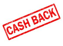 Cash back red stamp text on white background. Cash back stamp sign. cash back red rubber stamp Stock Photos