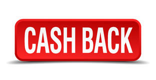 Cash back red three-dimensional square button Royalty Free Stock Images