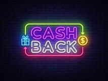 Cash Back sign vector design template. Cash Back symbols neon logo, light banner design element colorful modern design royalty free illustration