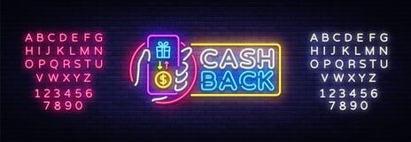 Cash Back sign vector design template. Smartphone in hand Cash Back symbols neon logo, light banner design element vector illustration