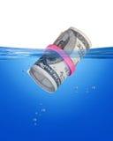 Cash Bankroll. Floating large cash money bankroll Royalty Free Stock Images