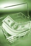 Cash in basket Royalty Free Stock Photos