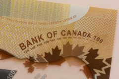 Cash bills from Canadian currency. Dollars. Detail close up shot. Of money from Canada royalty free stock images