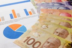 Cash bills from Canadian currency. Dollars. Bills spread on paperwork reports analysis. Cash bills from Canadian currency. Dollars. Bills spread on paperwork royalty free stock photography