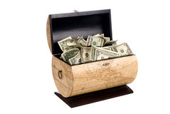 Cash box. A wooden box full of cash is a treasure of economic wealth Royalty Free Stock Photography