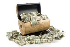 Cash box. A cash box full of money is good for financial, economic, retirement and savings inferences Stock Image