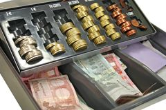 Cash-box. Cash box with chance and europeans banknotes Stock Photos