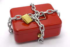 Cash box. Red cash box locked with chain Royalty Free Stock Photos