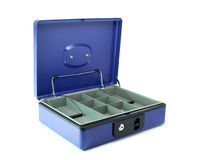 Cash box. Open blue cash box on the white background Royalty Free Stock Images