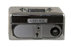 Cash box. Isolated metal cash box with lock Royalty Free Stock Images