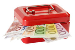 Cash box. Red cash box with euro banknotes  isolated on white background Royalty Free Stock Photos