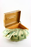 Dollars in open cash box. Twenty dollar bills in opened cash box, isolated on white background royalty free stock image