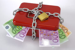 Cash box and euro. Locked cash box and euro banknotes Stock Image