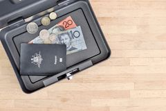 Cash Box. A studio photo of a cash box Stock Image