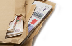 Cash in Brown Envelopes Stock Photo