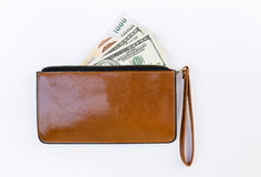 Cash in brown lady purse Royalty Free Stock Image