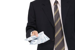 Cash in business man hand Royalty Free Stock Photos