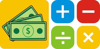 Cash Calc. Ulator general concept design Stock Image