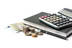 Cash, calculator, diary Royalty Free Stock Photos