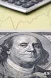 Cash,Calculator and Graph. Closeup image of one hundred dollar bill with graph and calculator royalty free stock photos