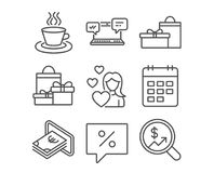 Cash, Calendar and Shopping icons. Tea cup, Gifts and Internet chat signs. Set of Cash, Calendar and Shopping icons. Tea cup, Gifts and Internet chat signs Stock Image