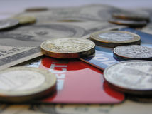 Cash and cards. The sorts of money (bills, coins, cards Royalty Free Stock Image