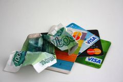 Cash and cards Royalty Free Stock Photography