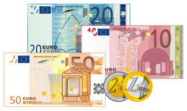 Cash and cents. Of euro money on a white background Royalty Free Stock Image