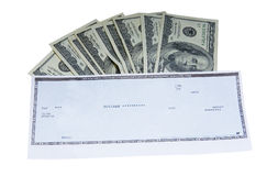 Cash and Check. Several 100 dollars bills and bank check isolated Stock Images