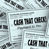 Cash That Check Money Payment Pile Fast Convenient Service. Cash That Check words on money or payments to illustrate a service or banking center to supply funds Royalty Free Stock Photos